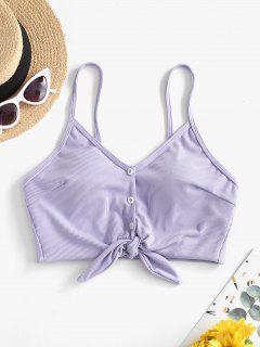 ZAFUL Ribbed Knotted Mock Button Bikini Top - Lavender Blue L