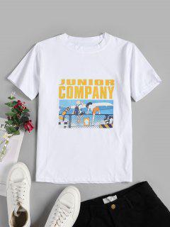 T-shirt Graphique Slogan Dessin Animé - Blanc M