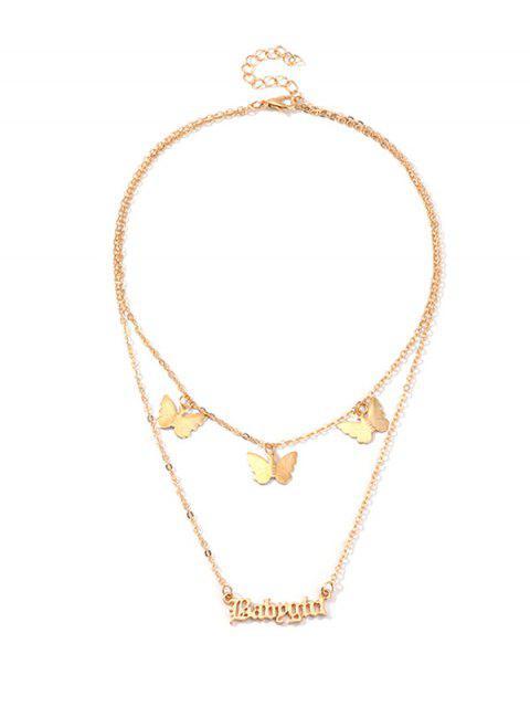 Принт бабочки и буквы Babygirl Многослойное Цепное Ожерелье - Золотой  Mobile