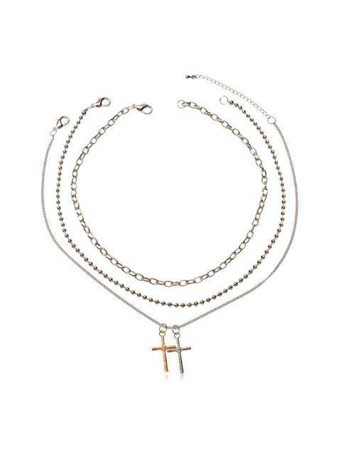 3шт Сплав Ожерелье с подвеской креста - Серебристый  Mobile