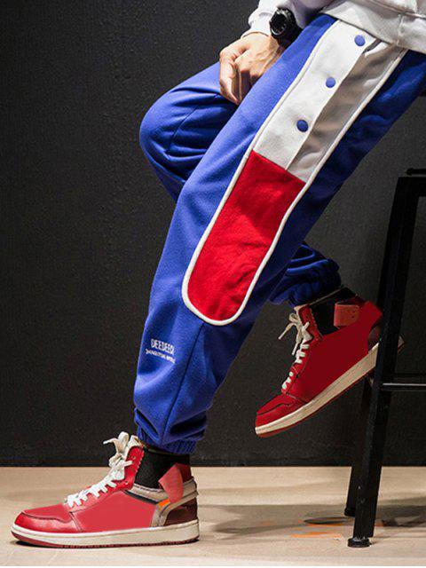 shop Color-blocking Snap Button Jogger Pants - BLUE XL Mobile