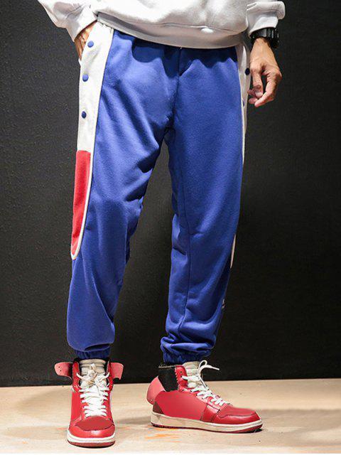 women's Color-blocking Snap Button Jogger Pants - BLUE 2XL Mobile