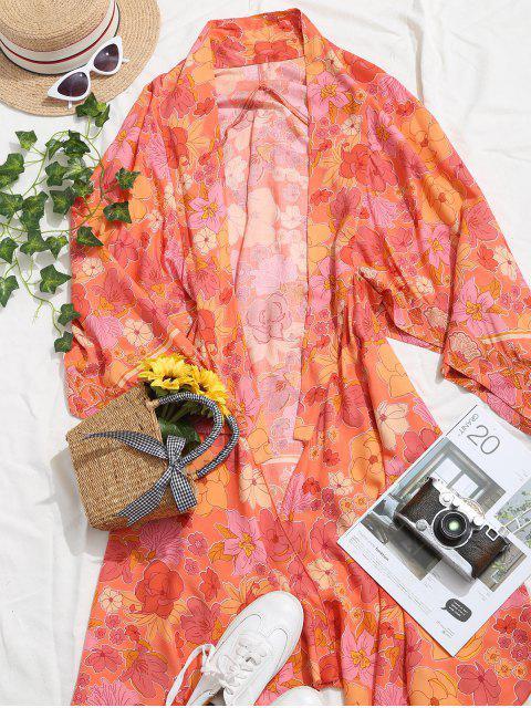 women Open Front Longline Floral Kimono Blouse - MULTI S Mobile