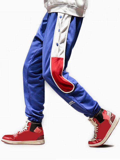 shop Color-blocking Snap Button Jogger Pants - BLUE L Mobile