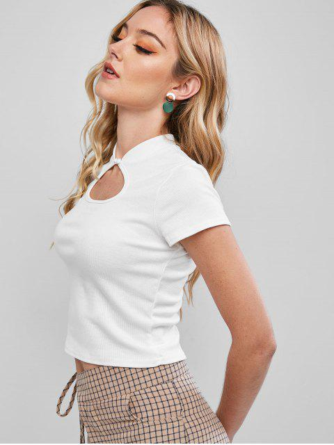 hot Cutout Ribbed Top - WHITE S Mobile