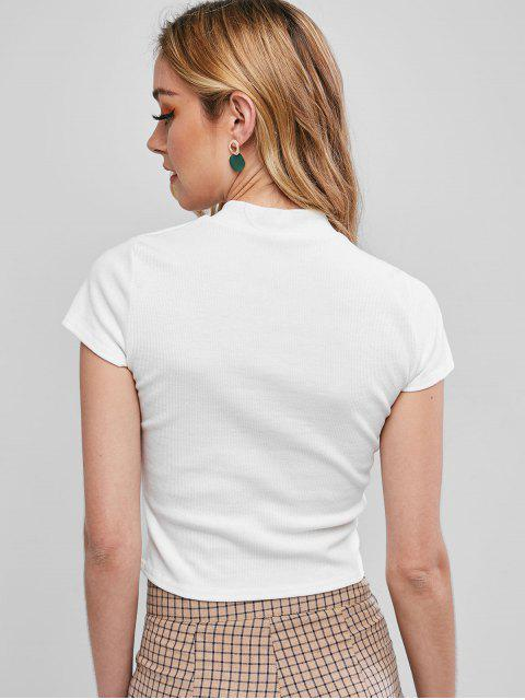 hot Cutout Ribbed Top - WHITE XL Mobile