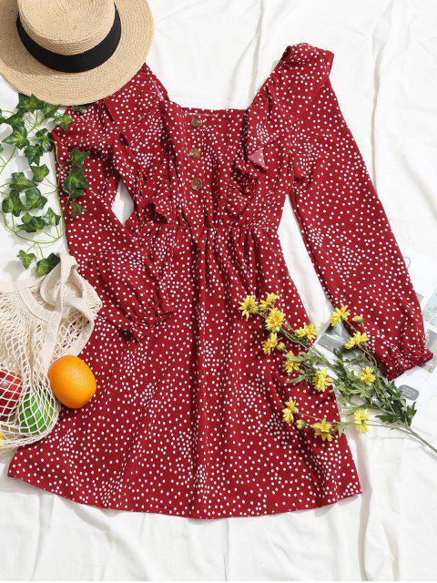Vestido de Lunares con Manga Larga con Volantes - Rojo L Mobile