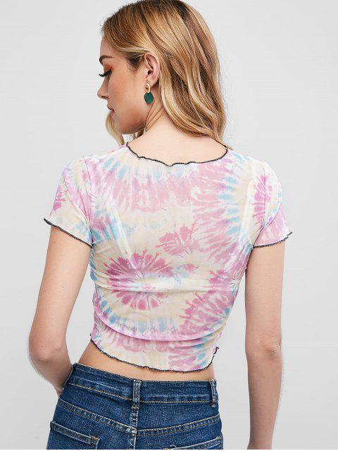 best ZAFUL Spiral Tie Dye Print Mesh Ringer T-shirt - MULTI-A S Mobile