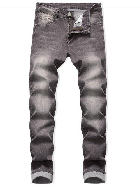 Pantalones Vaqueros Descoloridos Desgastados con Cremallera - Marrón Oscuro 42 Mobile