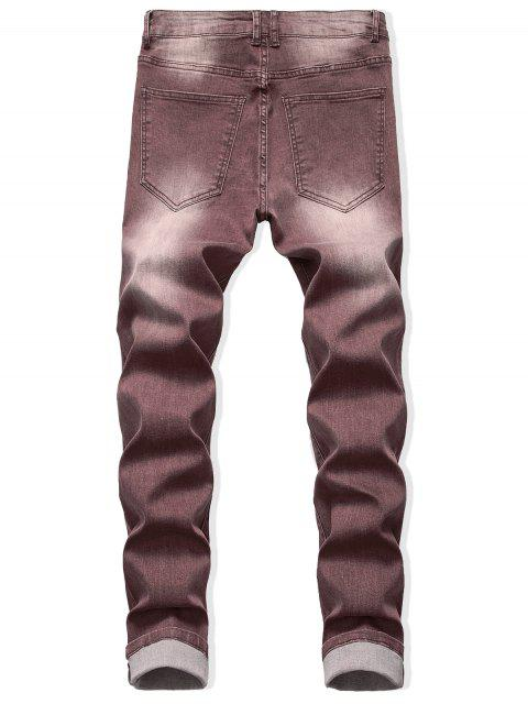 Jeans Descolorido con Cremallera y Lavado Claro - Marrón Oscuro 42 Mobile