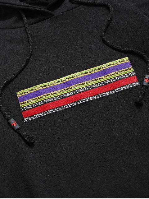 信件模式袋鼠口袋連帽衫 - 黑色 M Mobile