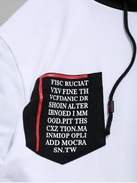 Sudadera con Capucha de Impresión de Letras de Dos Piezas - Blanco XL Mobile