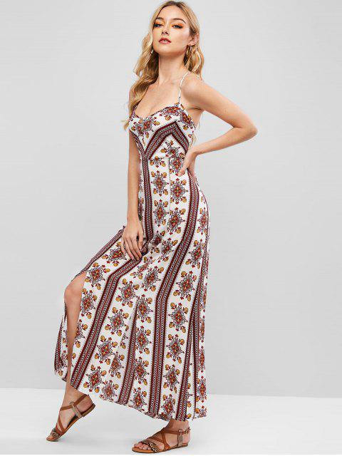outfits Cross Back Floral Boho Maxi Dress - MULTI S Mobile