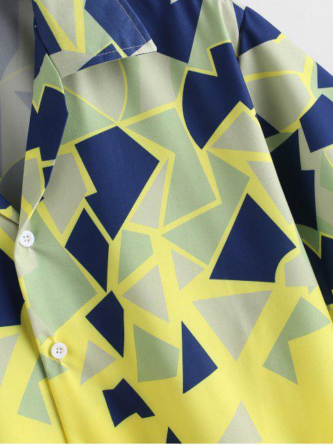 幾何学プリントボタンバケーションシャツ - 黄 L Mobile