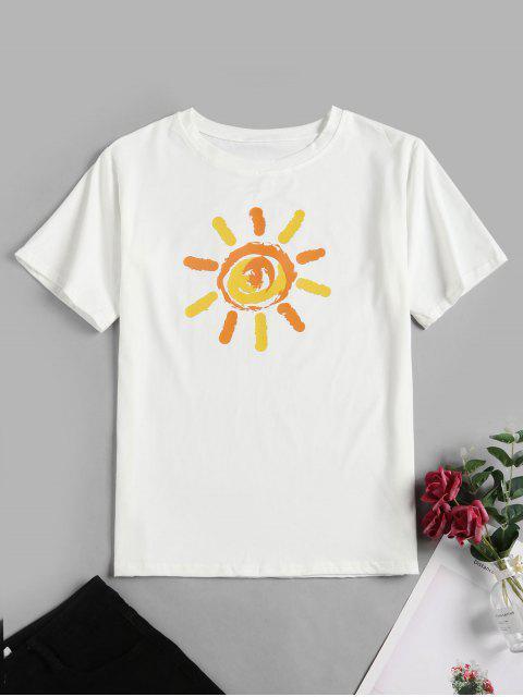 T-shirt Graphique Soleil de Base Amusant - Blanc 2XL Mobile
