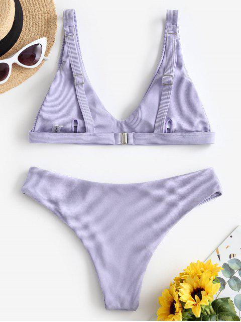 ZAFUL Maillot de Bain Bikini Côtelé - Bleu Lavande L Mobile