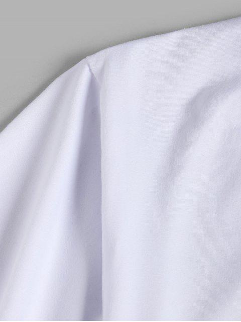 基本プラネットグラフィックフロントTシャツ - 白 XL Mobile