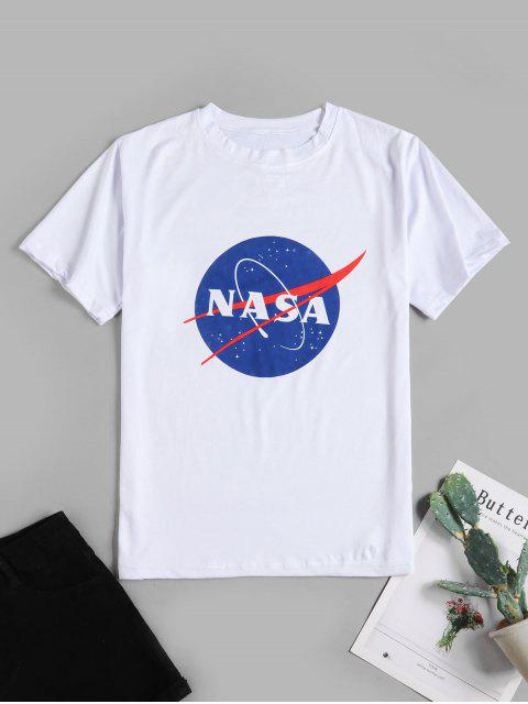 T-shirt de Base Graphique Planète en Avant - Blanc 2XL Mobile