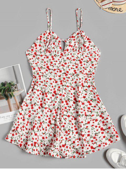 affordable Layered Hem Floral Tie Collar Cami Romper - WHITE M Mobile