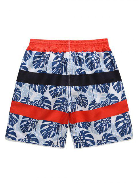sale Leaf Print Drawstring Casual Board Shorts - DEEP BLUE 2XL Mobile