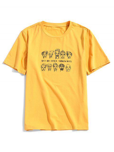 ZAFUL Camiseta con Estampado de Retrato con Manga Corta para Hombres - Amarillo Brillante S Mobile