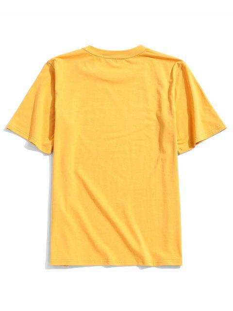 T-Shirt Snella da Uomo con Maniche Corte di ZAFUL - Giallo Luminoso L Mobile