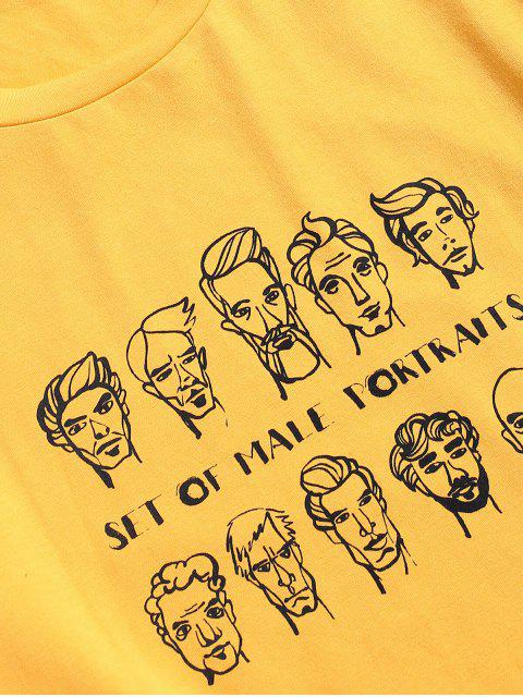 sale ZAFUL Men Portraits Print Short Sleeve T-shirt - BRIGHT YELLOW 2XL Mobile
