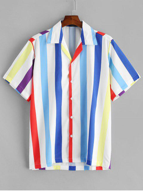 latest Button Up Colored Stripes Shirt - MULTI-A M Mobile
