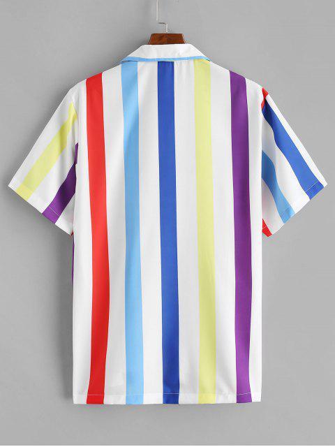 fashion Button Up Colored Stripes Shirt - MULTI-A XL Mobile