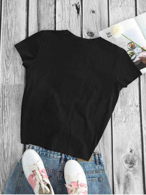 ZAFUL Verknotetes Kaktusdruck Kurzarm T-Shirt - Schwarz M Mobile