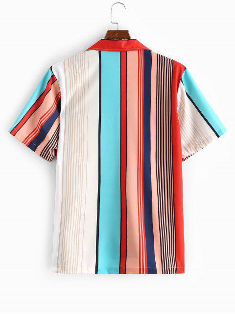 shops Colorblock Striped Button Up Shirt - MULTI-A S Mobile