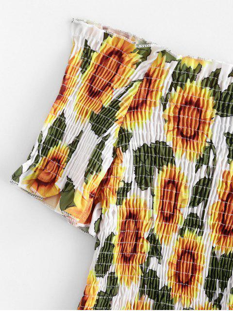 outfit Sunflower Smocked Off Shoulder Top - MULTI-A S Mobile