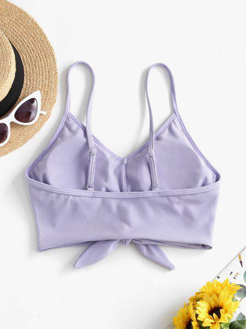 ZAFUL Ribbed Knotted Mock Button Bikini Top - أزرق لافندر S Mobile