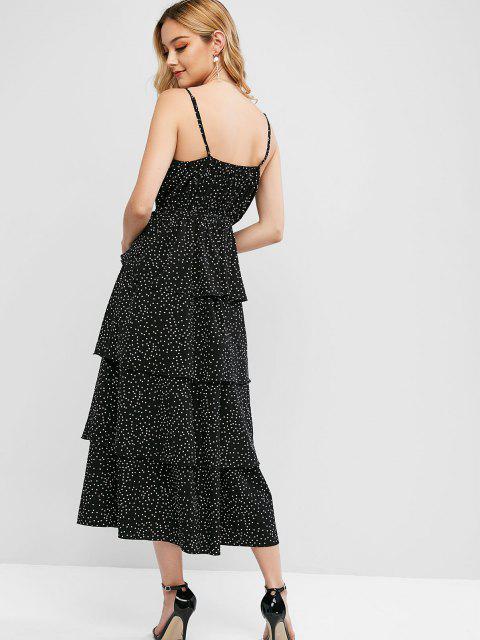 sale ZAFUL Polka Dot Layered Surplice Cami Dress - BLACK S Mobile