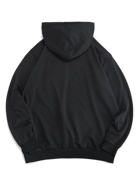 best ZAFUL Cartoon Embroidered Pouch Pocket Hoodie - BLACK S Mobile