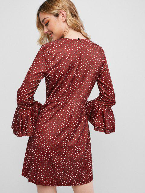 fashion Button Loop Dots Flare Sleeve Mini Dress - RED WINE L Mobile