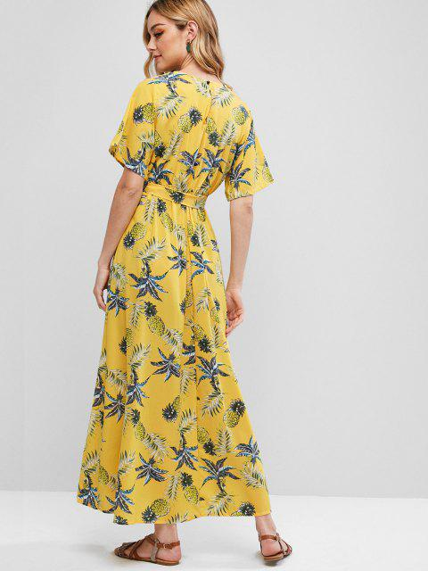 buy Belted Leaves Pineapple Surplice Maxi Dress - YELLOW M Mobile