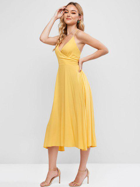best ZAFUL Knotted Back Surplice Cami Dress - SUN YELLOW S Mobile