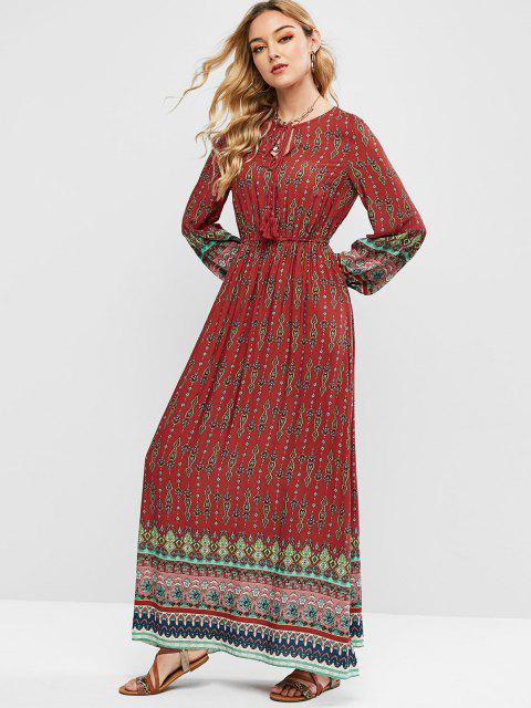outfit ZAFUL Printed Tassels Bohemian Maxi Dress - MULTI-A S Mobile