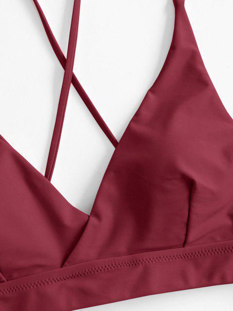 ZAFUL Costume da Bagno Bikini Floreale con Lacci Frontale - Vino Rosso M Mobile