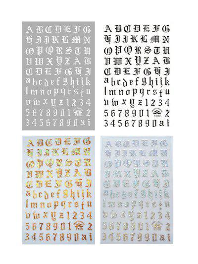 Decorative Laser Magic Letter Nail Stickers - Multi-a