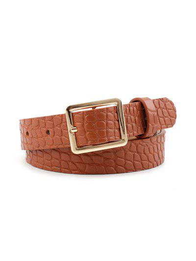 Textured Square Pin Buckle Belt - Light Brown