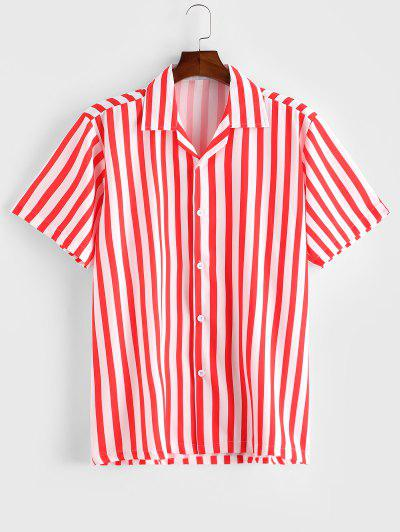 Notched Collar Striped Short Sleeve Button Shirt - Red S