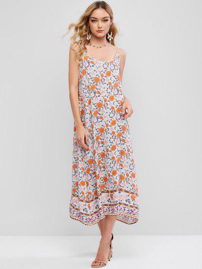 Vestido de Tirante Fino con Estampado Floral con Media Pierna