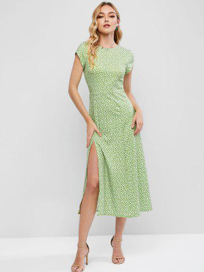Cut Out Back Ditsy Floral Slit Midi Dress - Green M
