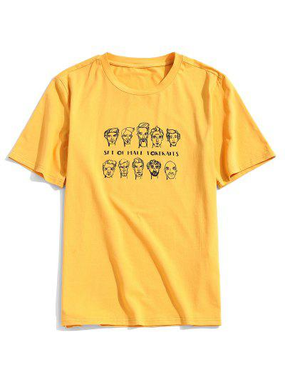 ZAFUL Men Portraits Print Short Sleeve T-shirt - Bright Yellow L