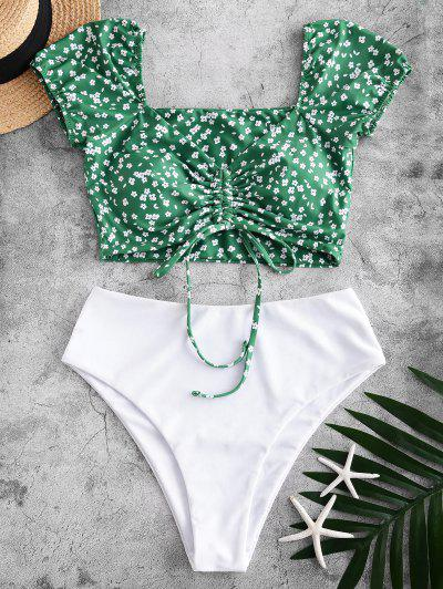 ZAFUL Ditsy Print Cinched Two Piece Swimsuit - Medium Forest Green Xl