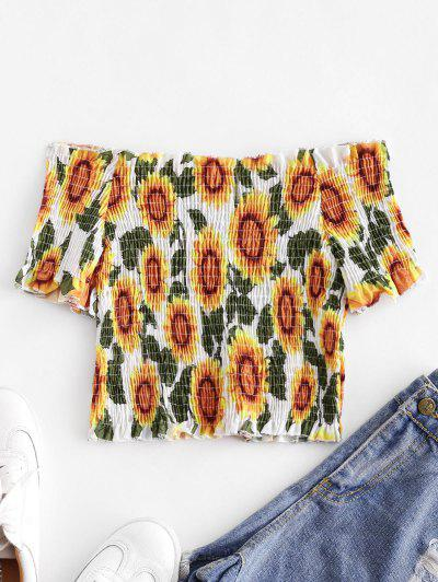 Sunflower Smocked Off Shoulder Top - Multi-a S