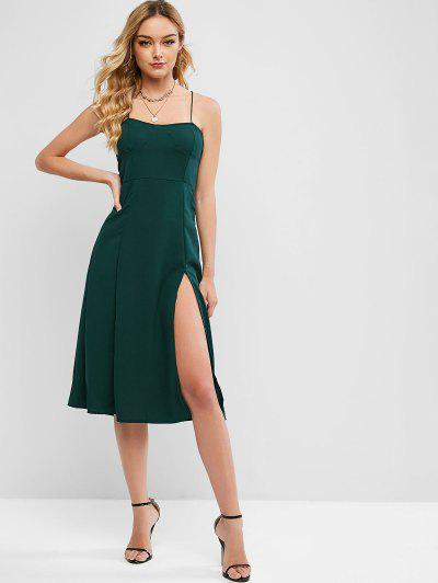 Criss Cross Smocked Back Slit Cami Dress - Deep Green L