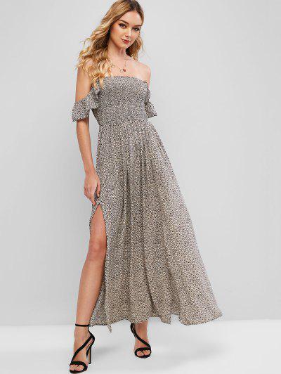 ZAFUL Off Shoulder Tiny Floral Slit Maxi Dress - Multi-a M